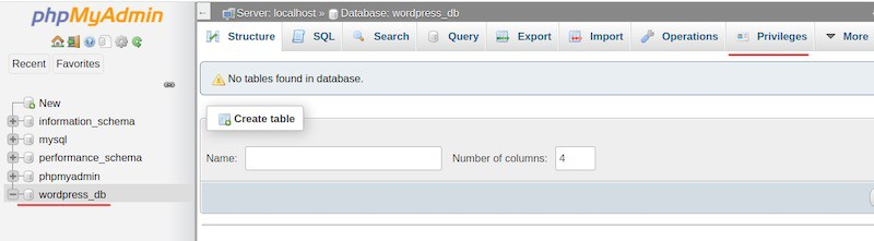 Create a database for WordPress