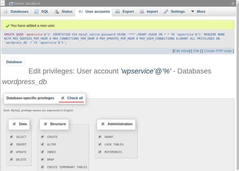 Add user account in database for Wordpress